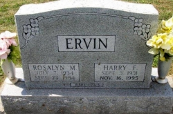 Harry F and Roslyn Ervin