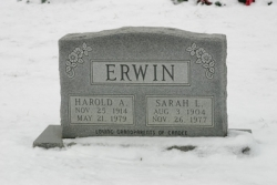 Harold A. and Sarah L. ERWIN Tombstone